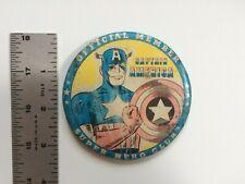 Vintage 1966 Captain America Super Hero Club Pinback Button Marvel Marvelmania