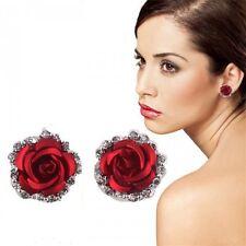 Crystal Rhinestone Red Rose Flower Pierced  Ear Stud Earrings Wedding Jewelry