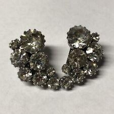 Clu 00004000 ster Clip On Earrings Vintage Weiss Silvertone Clear Rhinestone