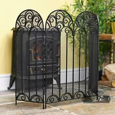 Black French Victoriana Three Fold Fireguard Fire Screen Fireplace Spark Guard
