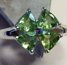 Natural Trillion 3.5ct Peridot 925 Solid Sterling Silver Flower Ring sz 7