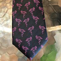 Flamingo Hibbing Apt 9 Necktie Men's Tie With Tie Clasp Black Pink New Tags