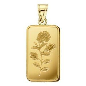 2.5 Gram Pamp Suisse .999 Rose Bar Pendant 23MM X 14MM Encased in 14k Gold