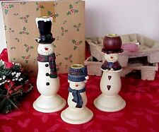 Snowman Family Candle Holders 3 Christmas Holiday Snowmen Decor Ceramic Box