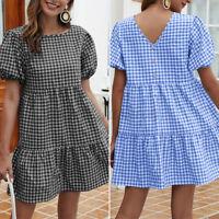 ZANZEA Women Tiered Fishtail Babydoll Mini Sundress Short Sleeve A-Line Dress