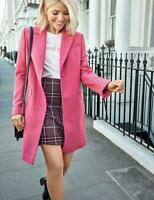 MARKS & SPENCER Womens Size 20 Pink Wool Blend Classic Lined Coat RRP £69