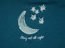 NWT Womens M LIFE IS GOOD Stay Out All Night Moon & Stars L/S Tee Shirt on Blue