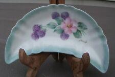 Vintage sea foam green bone dish berries and pink flower signed Starzyk