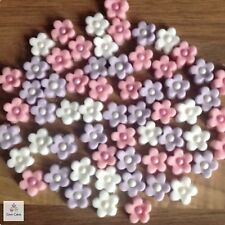 30 Edible Pink Lilac White Flowers Cup Cake Toppers Decorations Wedding Birthday