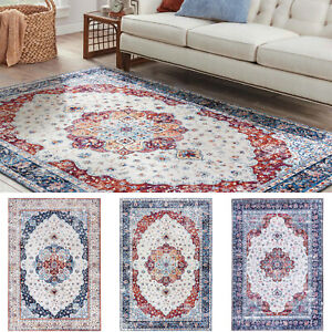Large Persian Floor Rugs Bedroom Golden Blue Traditional Persian Floral Carpet