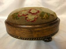 Vintage Antique Victorian Small Round Foot Stool Ceramic Feet Embroidery Top