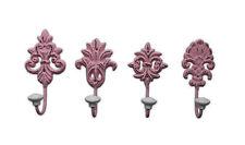 4 piezas gancho de la pared Rosa Hierro HUNDIDO Perchero nostalgia vintage chic