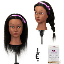 """Salon 16""""100% Real Hair Afro Training Head Hairdressing Practice Mannequin+Clamp"""