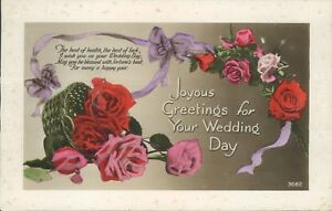 Real photo wedding day message and flowers