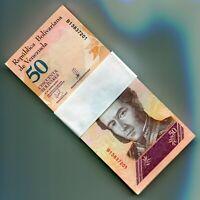 Venezuela PNEW 2018 50 Bolivares Soberano UNC 100 Sequential Banknotes 1 Bundle