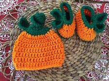 480a57f28 Crochet newborn - 3 month Pumpkin Hat   Booties Fall Photo Prop Baby Gift