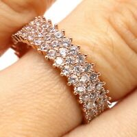 .15 Ct Round Cubic Zirconia Band Ring Women Wedding Jewelry 14K Rose Gold Plated