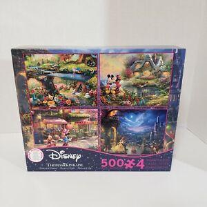 Thomas Kinkade Disney 4 in 1 Box Set Beauty Beast Mickey Minnie Puzzle 500 Piece
