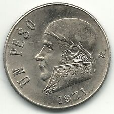 VERY NICE HIGH GRADE UNC 1971 MEXICO (1) UN PESO (SNAKE) COIN-NOV181