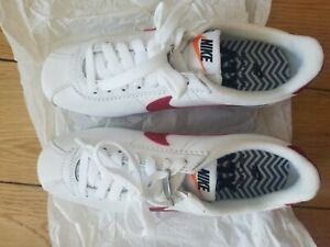 Nike Women's Cortez White/Varsity Red Leather Sneakers US 5.5 (European version)