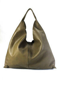 & Other Stories Womens Large Leather Hobo Tote Handbag Olive Green