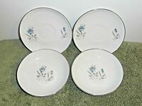 Royal Taunton China 2 Blue Rose Berry Bowls & 2 Saucers Silver Trim-- Lot Of 4!