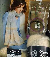 Strickset, Lana Grossa, Schal, natur, stricken, Silkhair, Mohair, Seide, 50x220