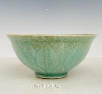 "6.4"" China antique Backflow Ru porcelain green glazed ice flake bowl"