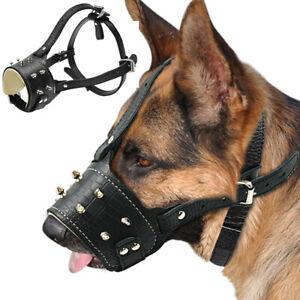 Studded Leather Muzzle for Large Dog Pitbull Adjustable German Shepherd Basket