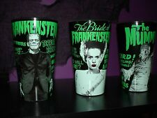 Universal Monsters Set 3 BLACK Glasses Glass Frankenstein Bride of and Mummy