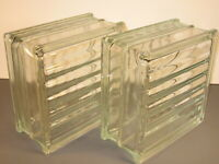 Clear Glass Blocks 7 3/4 x 7 3/4 x 3 7/8 Lot of 2