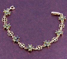 18K Gold Plated Peridot Flower Bracelet