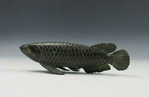 A Chinese Bronze Arowana Scale Fish 3D Sculpture Good Fortune Shelf Sitter