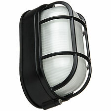 Wall Mount Oval Outdoor Fixture Black Powder Frosted Glass Free Shipping from Us
