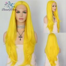 Yellow Natural Long Wavy Hair Heat Resistant Synthetic Lace Front Wigs For Women