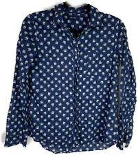 Madewell Button Down Top Size S Elephant Print Blue