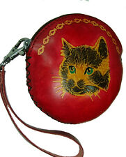 Real Leather Change Purse with Wristlet Strap, Handsome Cat Face, Zipper Closure