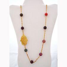 "Long Multicolored Agate Stone Beads w/ Fatima Hand/ Hamsa Charm Necklace 36"""
