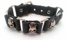 Black Leather Bracelet with Skull Designed Metal Buttons - Buckle Clasp