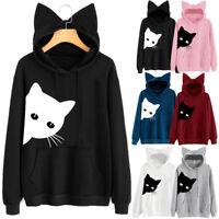 Womens Cat Print Long Sleeve Hoodie Sweatshirt Hooded Pullover Shirt Tops Blouse