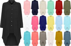 Womens Ladies Plus Batwing Shirt Dress Long Sleeve Dip Hem Hi Lo Button Collar