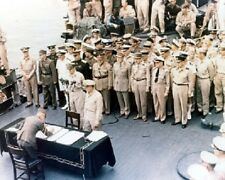 "Japanese leaders signing surrender USS Missouri Color 8""x 10"" WWII WW2 Photo 661"