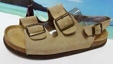 Womens Lands End Tan Suede Slides Sandals Molded Foot Bed Sz 10