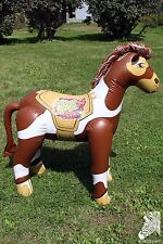 Inflatable 2010 VBS Pony Horse 57 in. Pinto Paint Brown White Blow Up Decoration