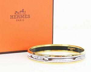 Auth HERMES Goldtone and Pink Belt Design Enamel Bangle Bracelet PM #35669