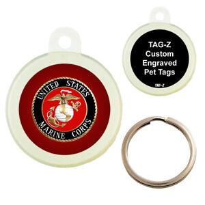MARINES LOGO - USMC - CUSTOMIZED - PET TAG - CIRCLE Shape - Tag-Z Dog Tags