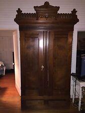 Antique  Eastlake Armoire wardrobe cabinet 8  feet tall