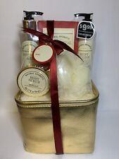 Natural Aromatic Vanilla Bath Shower Gel Scrub Lotion Gift Set Gold Bag - NWT