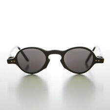 Small Round Vintage Spectacle Vintage Sunglass Black / Gray Lens - Oscar
