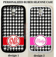 RED HOT PINK BLACK HOUNDSTOOTH MONOGRAM Case For Samsung GALAXY S7 S6 NOTE 5 4 3